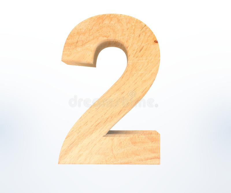 Decorative wooden alphabet digit two symbol - 2. 3d rendering illustration. Isolated on white background. Decorative wooden alphabet digit two symbol - 2. 3d stock illustration