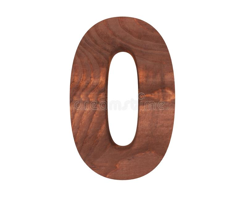 Decorative wooden alphabet digit zero symbol - 0. 3d rendering illustration. Isolated on white background. Decorative wooden alphabet digit zero symbol - 0. 3d stock illustration
