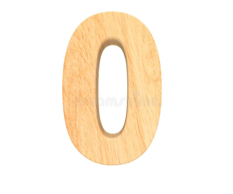 Decorative wooden alphabet digit zero symbol - 0. 3d rendering illustration. Isolated on white background. Decorative wooden alphabet digit zero symbol - 0. 3d royalty free illustration