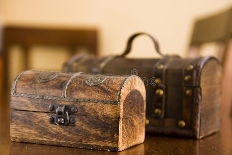 Decorative wooden boxes stock photo