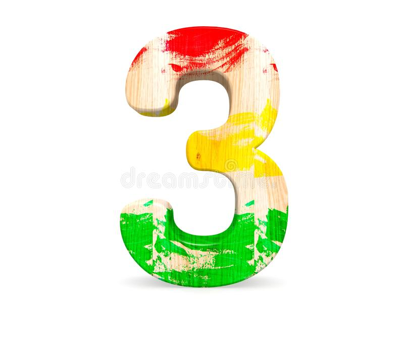 Decorative wooden colored red green yellow alphabet digit three symbol - 3. 3d rendering illustration. Isolated on white. Decorative wooden colored red green royalty free illustration