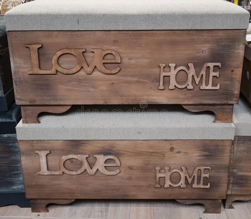 Decorative wooden crates stock image