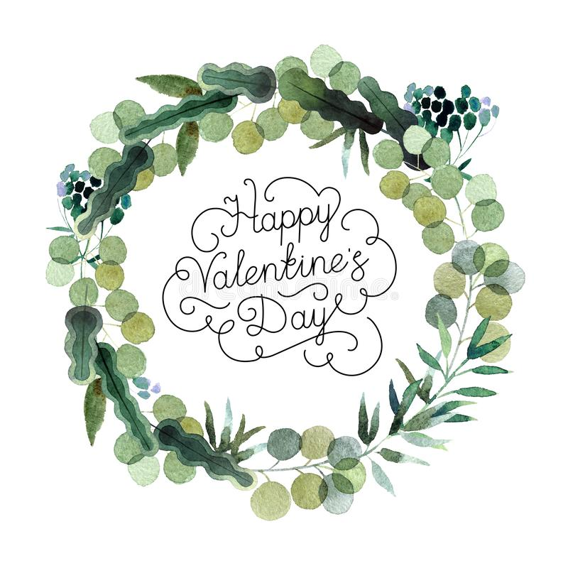 Decorative wreath with inscription Happy Valentine`s day. Beautiful watercolor wreath with Happy Valentine`s Day inscription isolated on white background. Round royalty free illustration