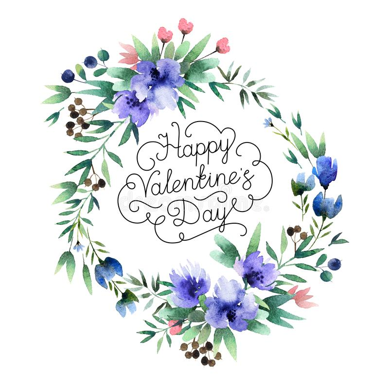 Decorative wreath with inscription Happy Valentine`s day. Beautiful watercolor wreath with Happy Valentine`s Day inscription isolated on white background. Round stock illustration