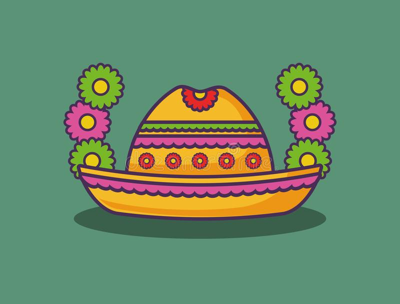Mexican food design. Decorative wreath of flowers with Mexican hat over green background, colorful design. vector illustration stock illustration