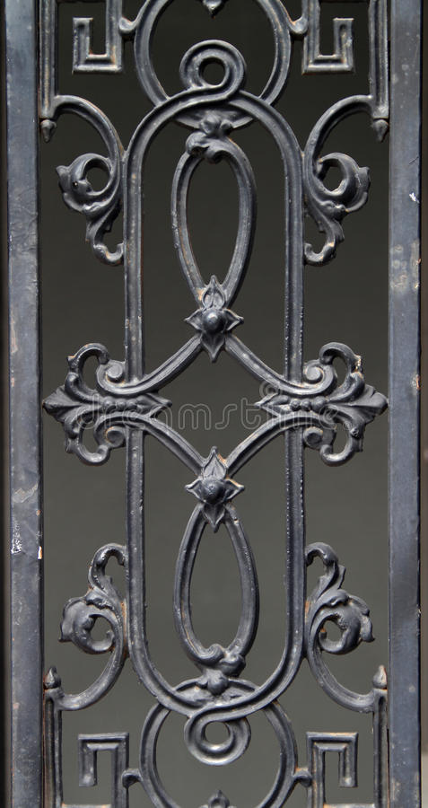 Decorative wrought iron fence detail stock image
