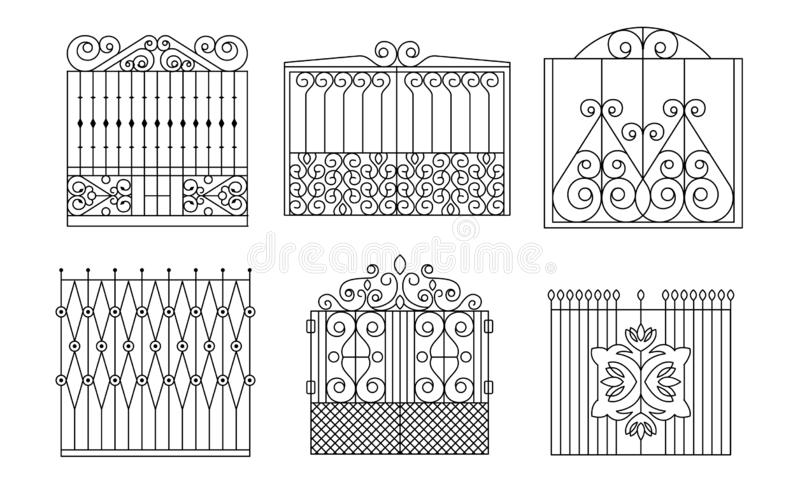 Decorative Wrought Iron Gates Set, Vintage Fences with Swirls Vector Illustration. On White Background vector illustration