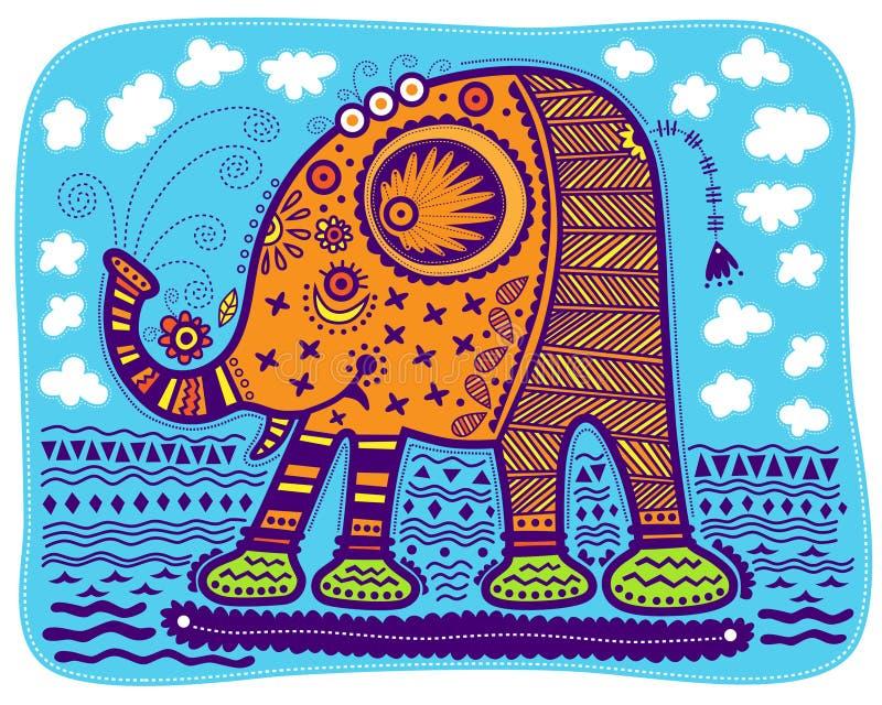 Decorative yellow elephant stock illustration