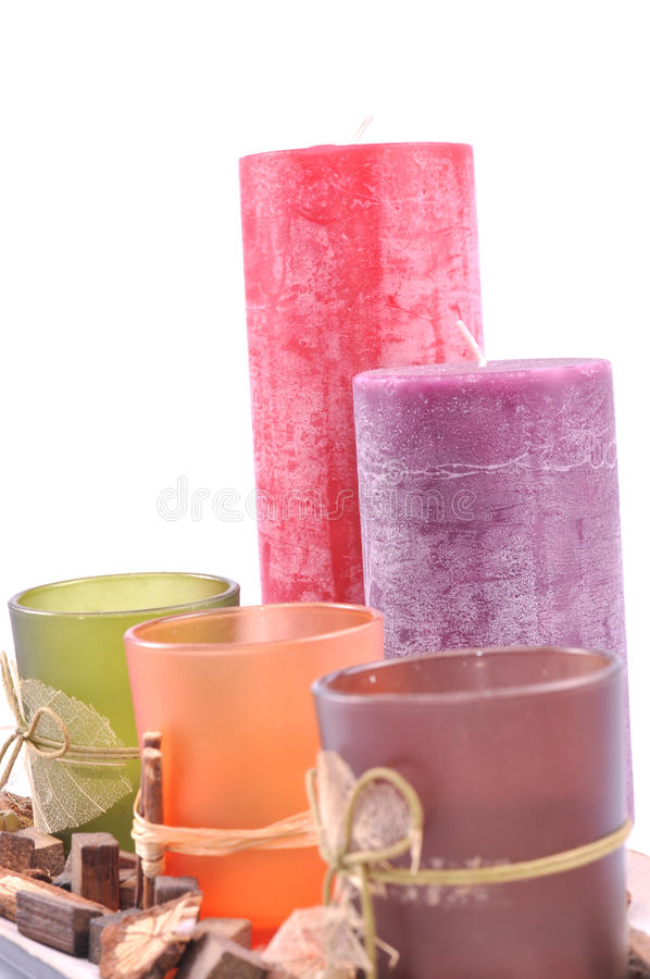 Free Decorative Zen Candle Pot Different Colors Royalty Free Stock Image - 34072146