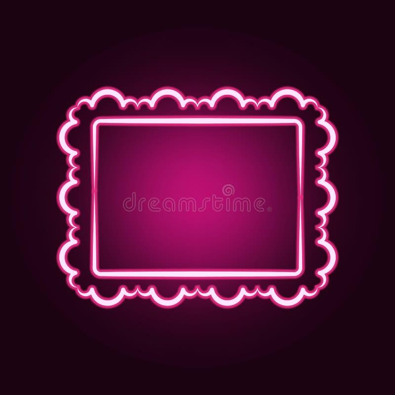 Decorativeframe和边界霓虹象 框架集合的元素 网站的简单的象,网络设计,流动应用程序,信息图表 向量例证