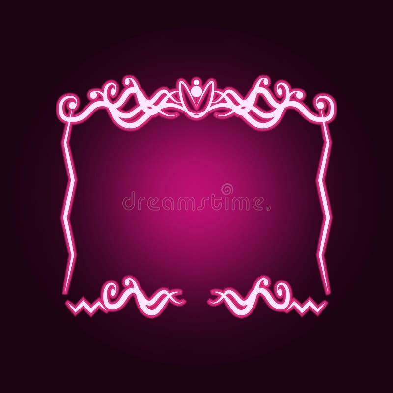 Decorativeframe和边界霓虹象 框架集合的元素 网站的简单的象,网络设计,流动应用程序,信息图表 库存例证