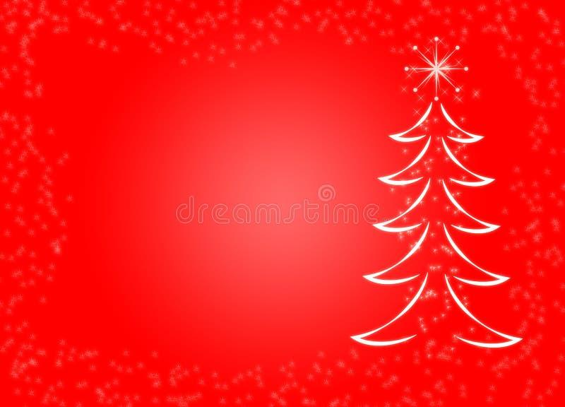 Decorativo frizzante magico del fondo di tema di Natale dell'abete del pino del fiocco di neve rosso della neve illustrazione vettoriale