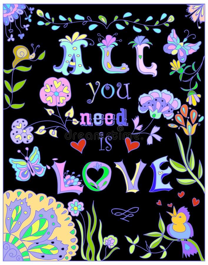 Decorativo tudo você precisa o cartaz colorido do amor ilustração do vetor