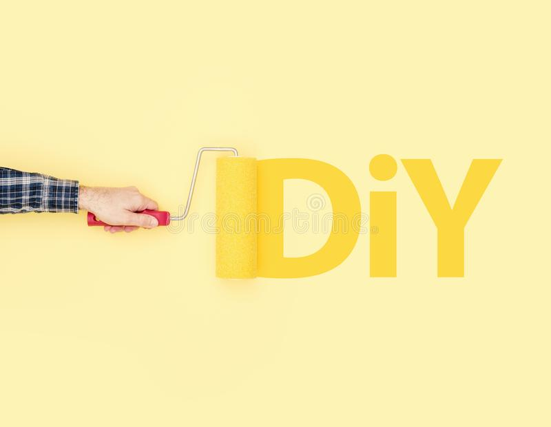 Decorator Painting DIY On A Wall Stock Image - Image of decorating ...