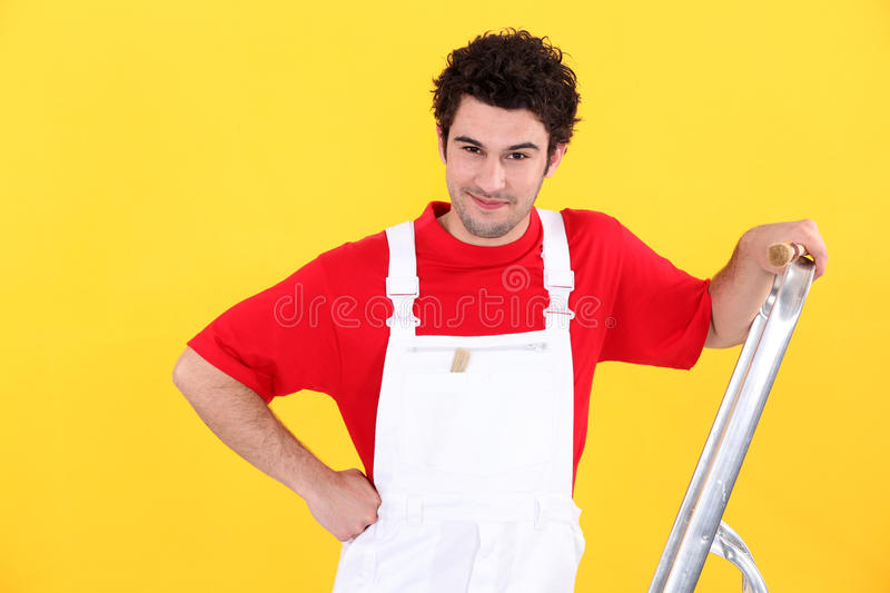 Decorator With A Stepladder Stock Image