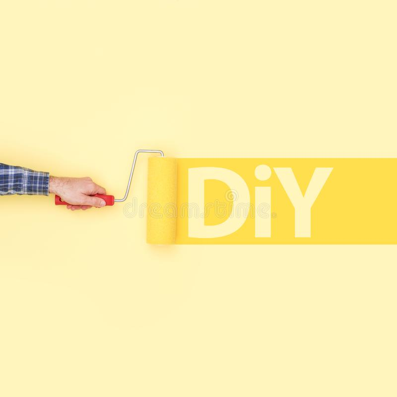 Decorator Painting DIY On A Wall Stock Photo - Image of tool, hobby ...