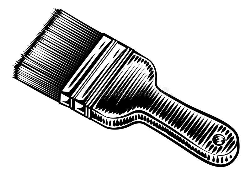 Decorators Paintbrush rocznika Woodcut styl royalty ilustracja