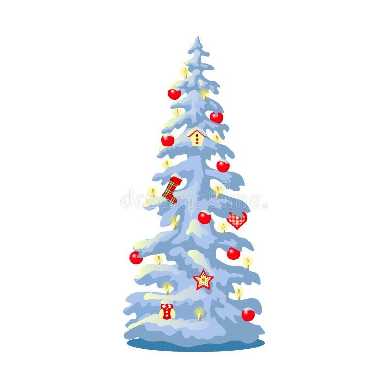 Decoratred exponerade den snöig julgranen med färgrika prydnader, bollar, leksaker, stearinljus Isolerat på vit vektor illustrationer