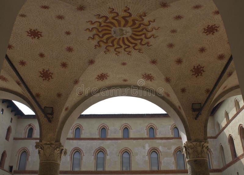 Decorazione all'aperto del soffitto di Milan Sforza Castle immagine stock libera da diritti