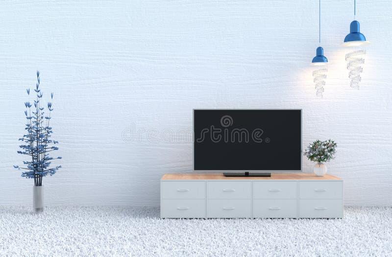 Decorazione bianca del salone con la televisione illustrazione di stock