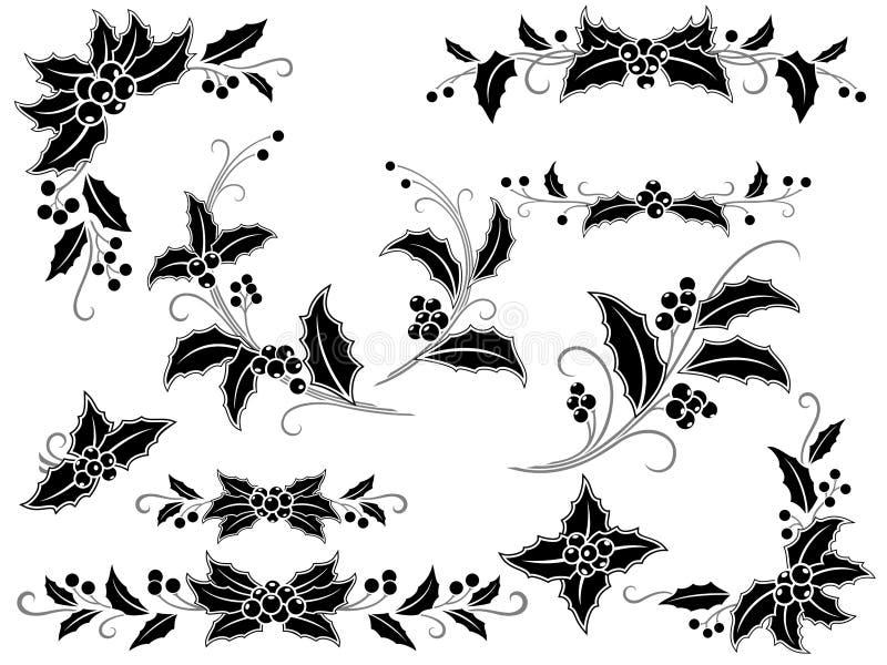 Decorazione in bianco e nero dell'agrifoglio di natale illustrazione di stock