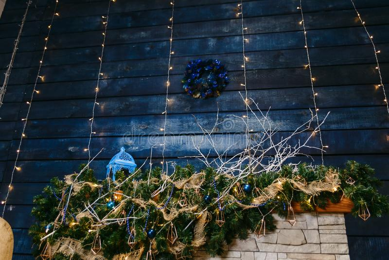 Decorazione blu scuro di Natale fotografia stock libera da diritti