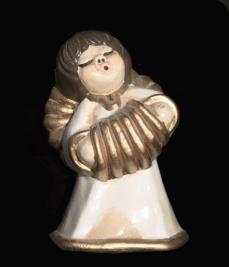 Decorazione ceramica di Natale di angelo immagini stock libere da diritti