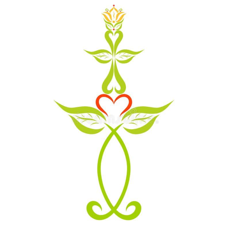 Decorazione cristiana, simboli, pesce, incrocio e giglio royalty illustrazione gratis