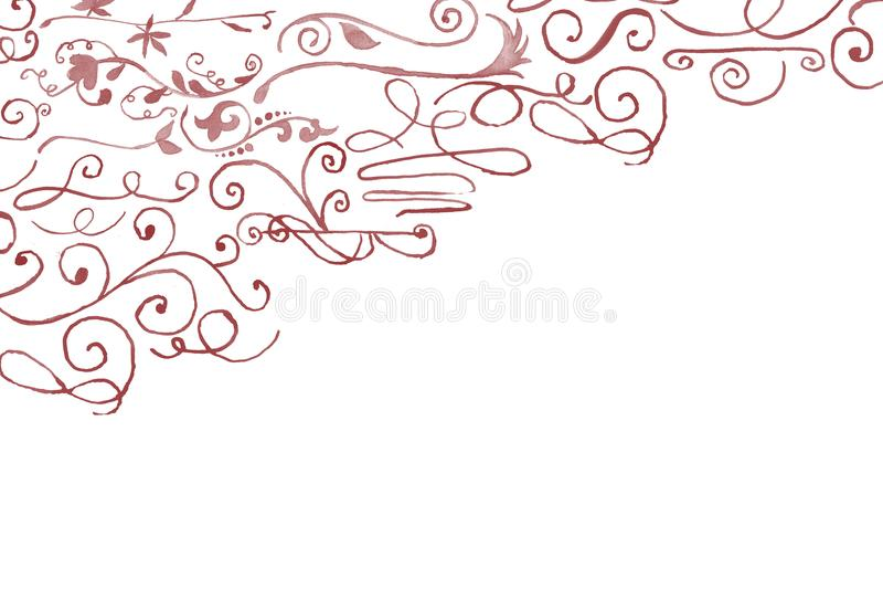 Decorazione d'angolo floreale dell'acquerello disegnato a mano immagini stock