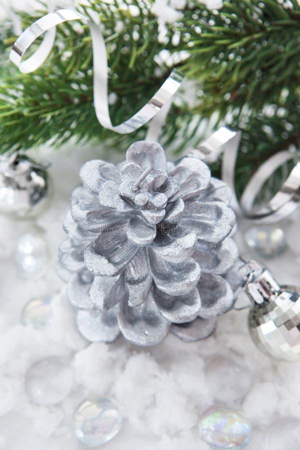 decorazione d 39 argento di natale candela palle e ramo