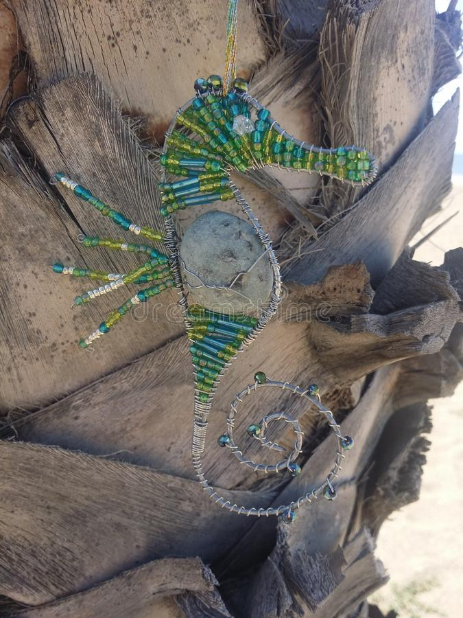 Decorazione d'attaccatura dell'ippocampo sulla palma immagini stock libere da diritti