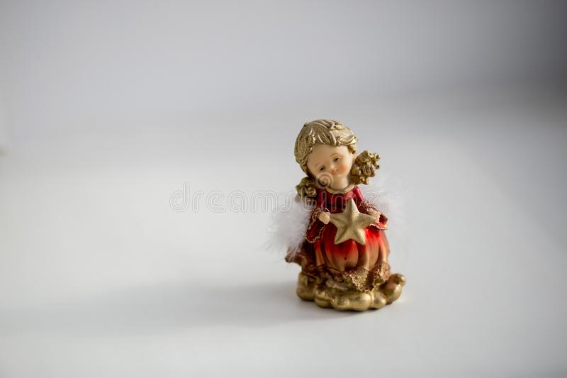 Decorazione decorativa di Natale sotto forma di un angelo della ragazza fotografia stock