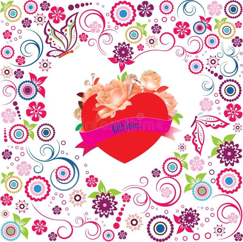 Decorazione del biglietto di S. Valentino con cuore immagini stock