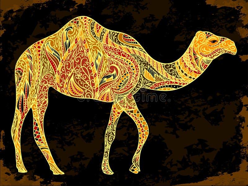 Decorazione del cammello con gli ornamenti orientali sul fondo nero di lerciume illustrazione di stock