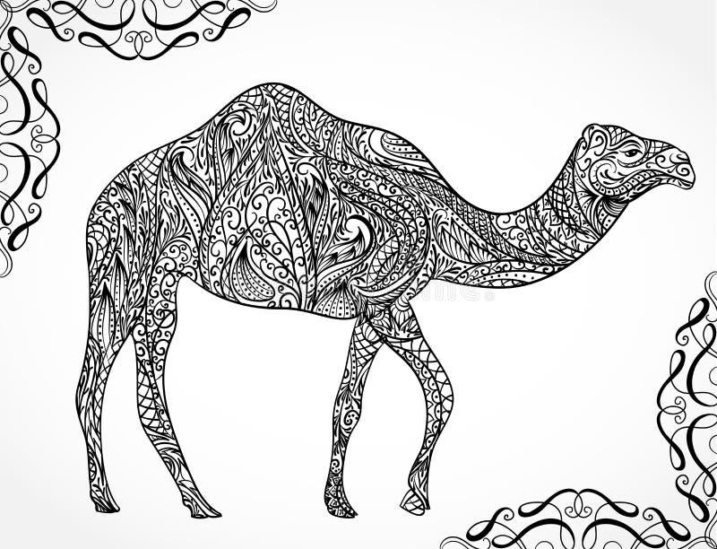 Decorazione del cammello con gli ornamenti orientali Vettore disegnato a mano d'annata illustrazione di stock