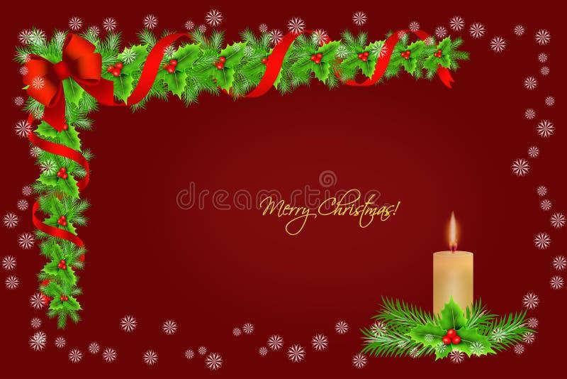 Decorazione del confine dell'agrifoglio di Natale con la candela ed i fiocchi di neve sopra fondo rosso, cartolina d'auguri illustrazione di stock