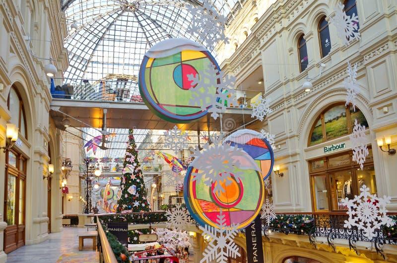 Decorazione del corridoio della GOMMA del deposito di Mosca, Russia del ` s del nuovo anno fotografia stock
