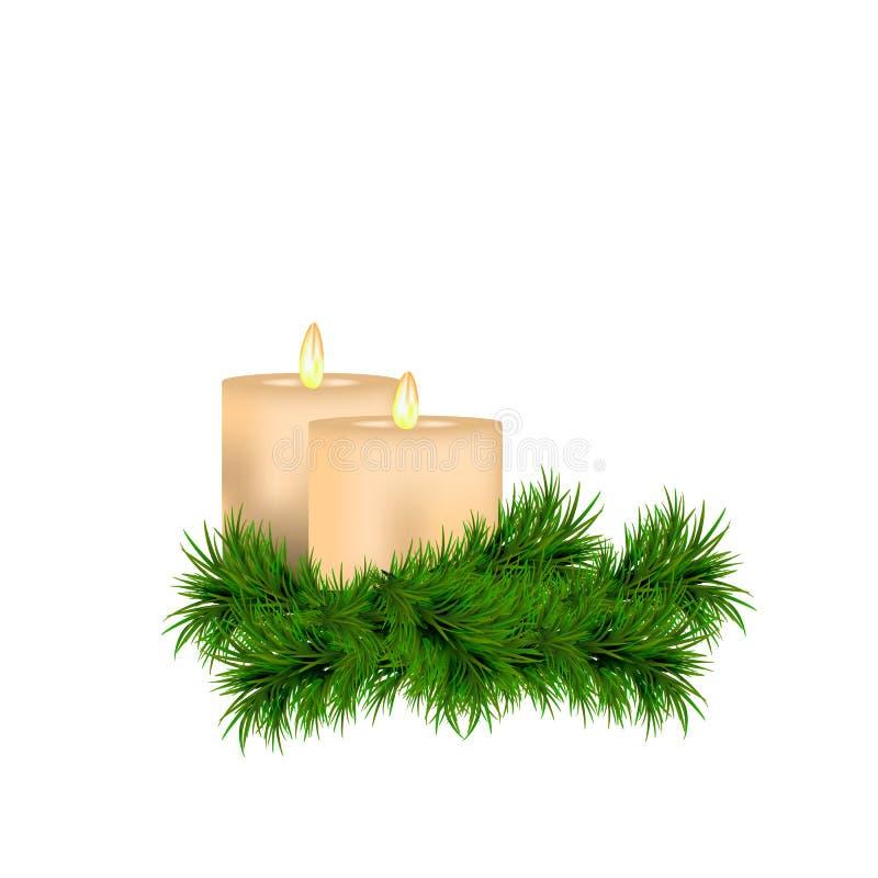 Decorazione del nuovo anno e di Natale con le candele ed il ramoscello attillato isolati su fondo bianco illustrazione di stock