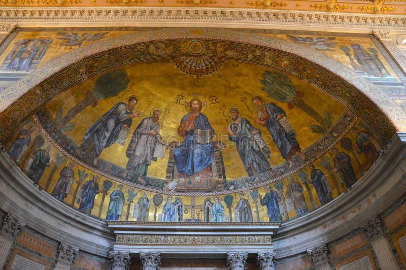 Decorazione del soffitto al fuori le Mura di Papale San Paolo della basilica fotografia stock libera da diritti