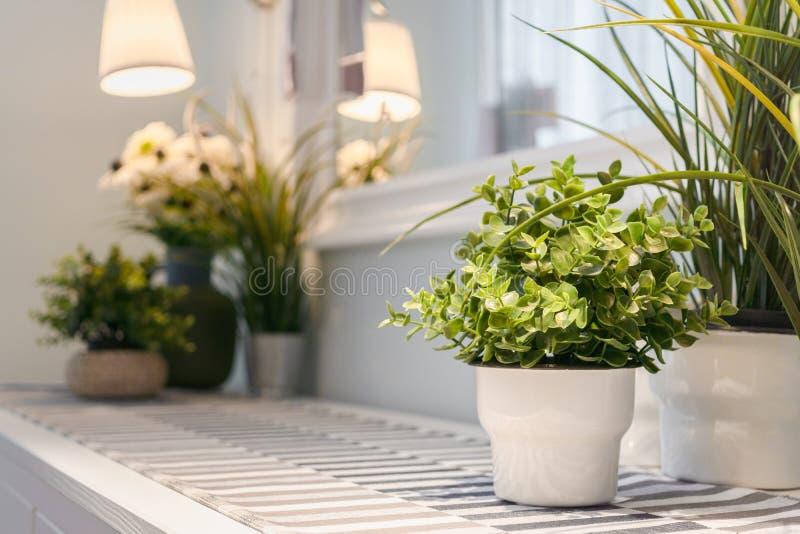 Decorazione del vaso di fiore artificiale in salone moderno Dettagliato di interior design moderno del salone con le piante artif fotografia stock
