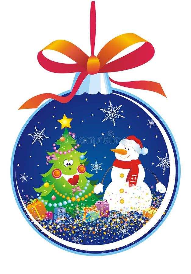 Decorazione dell'albero di Natale con il pupazzo di neve illustrazione vettoriale
