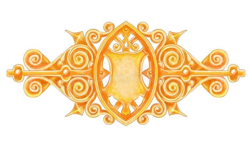 Decorazione dell'annata dell'oro di Ornated con lo schermo araldico. illustrazione di stock