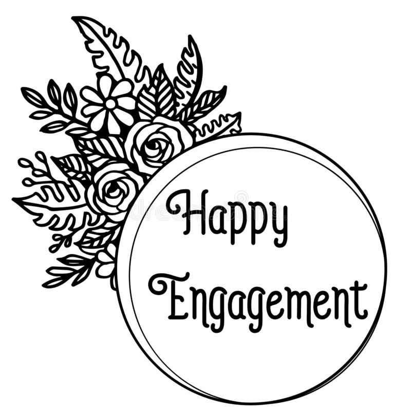 Decorazione dell'illustrazione di vettore dell'impegno felice con il contesto su una struttura del fiore bianco illustrazione di stock