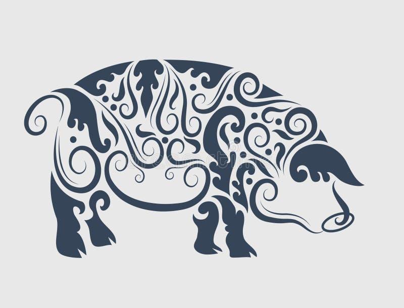Decorazione dell'ornamento del maiale illustrazione vettoriale
