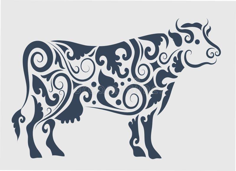 Decorazione dell'ornamento della mucca royalty illustrazione gratis