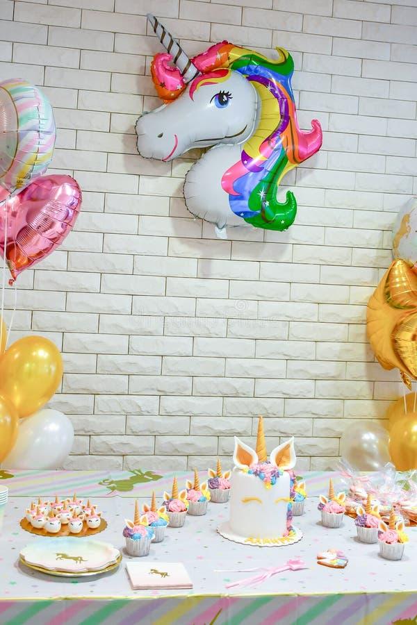 Decorazione dell'unicorno per il partito fotografia stock libera da diritti