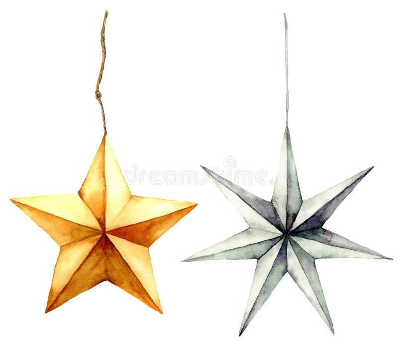 Decorazione delle stelle dell'acquerello Oro dipinto a mano e stelle d'argento isolati su fondo bianco Giocattoli di natale festa illustrazione di stock