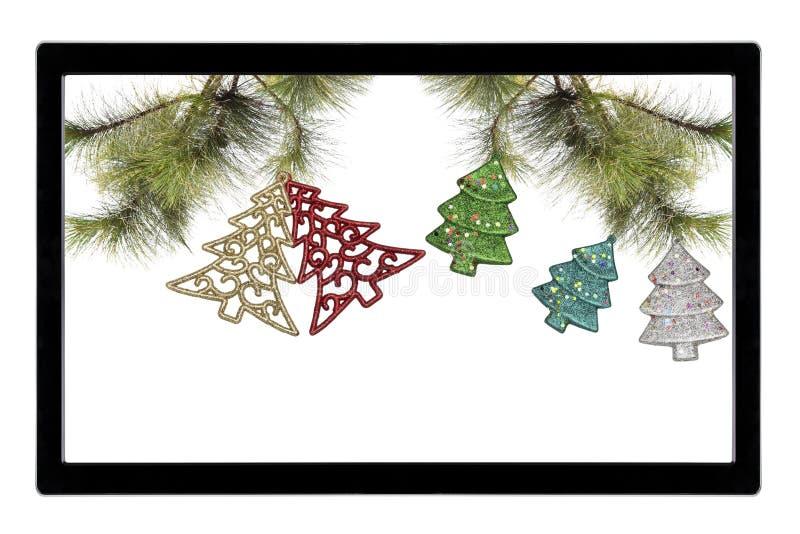 Decorazione di Christmass con la TV isolata su fondo bianco fotografia stock libera da diritti