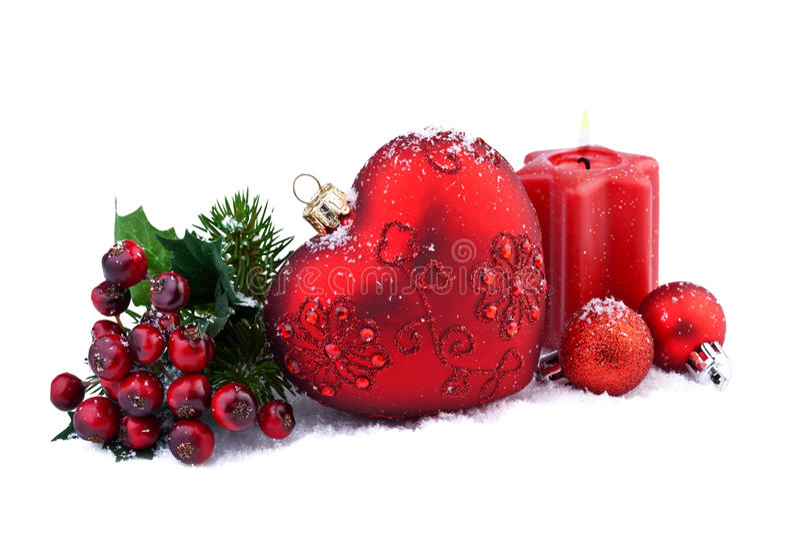 Decorazione di Natale con cuore rosso fotografia stock libera da diritti