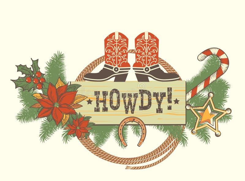 Decorazione di Natale con gli stivali americani di traditonal per l'inverno w illustrazione vettoriale